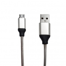 Shrink Microusb Metal Spring Cable 1m